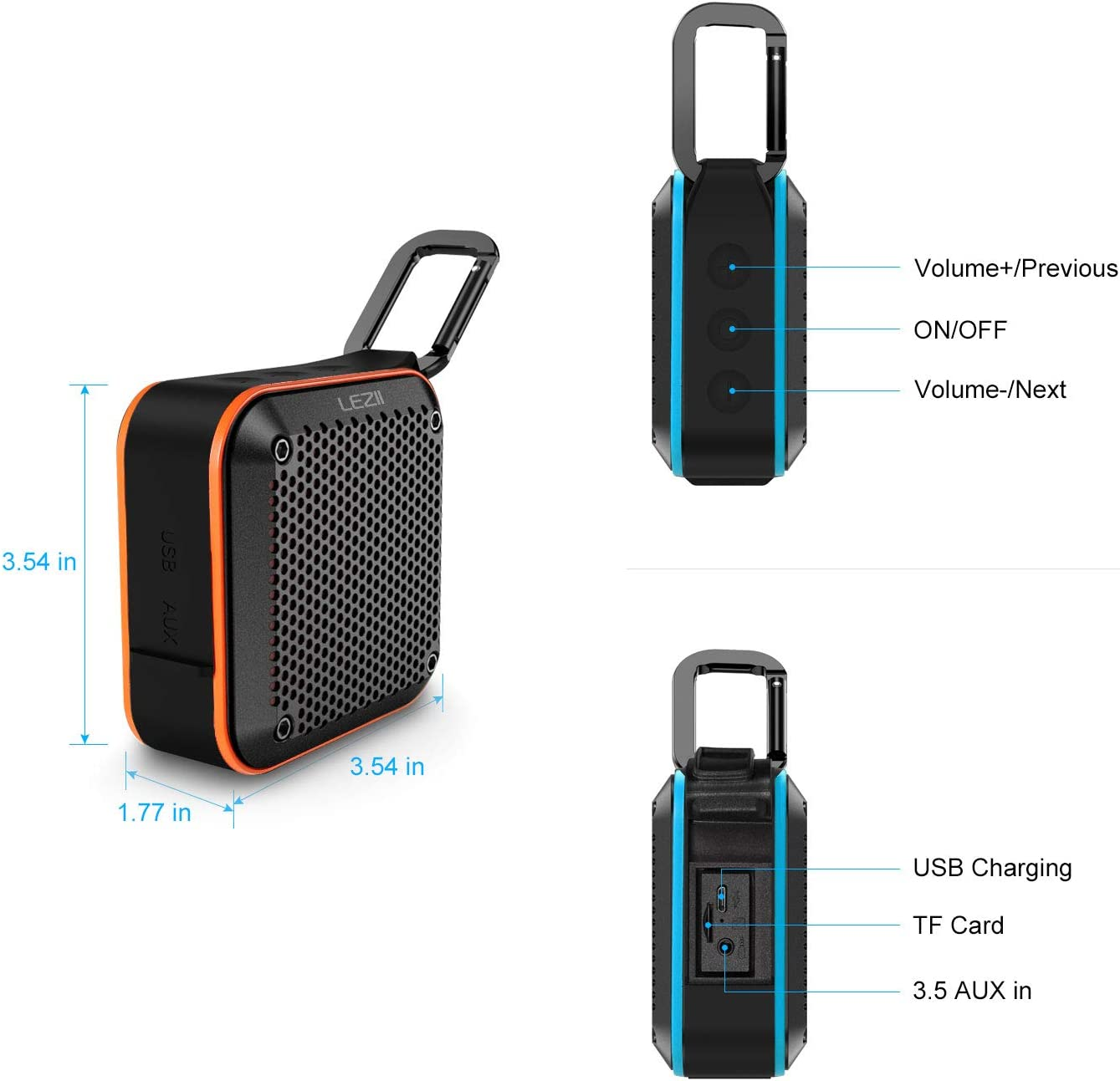12h Playtime 10W Bass Sound Small Portable Wireless Speakers LEZII IPX8 Waterproof Bluetooth Speaker Floating Speaker for Shower Beach Pool Party