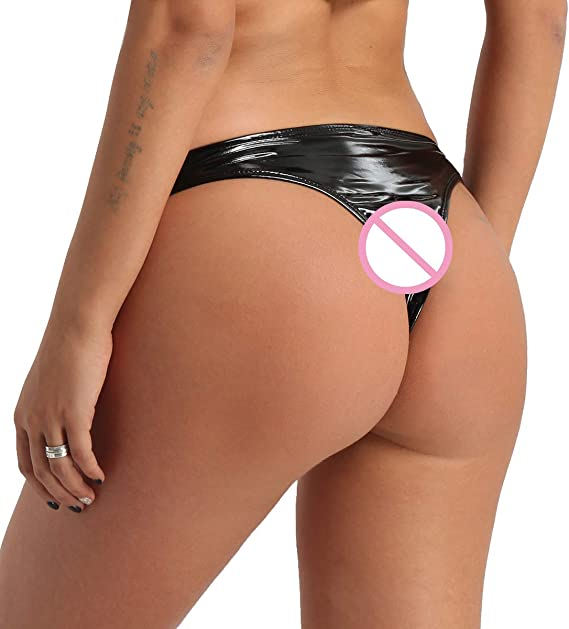 Women Lingerie Wetlook Crotchless Briefs Panties Knickers Underwear Nightwear