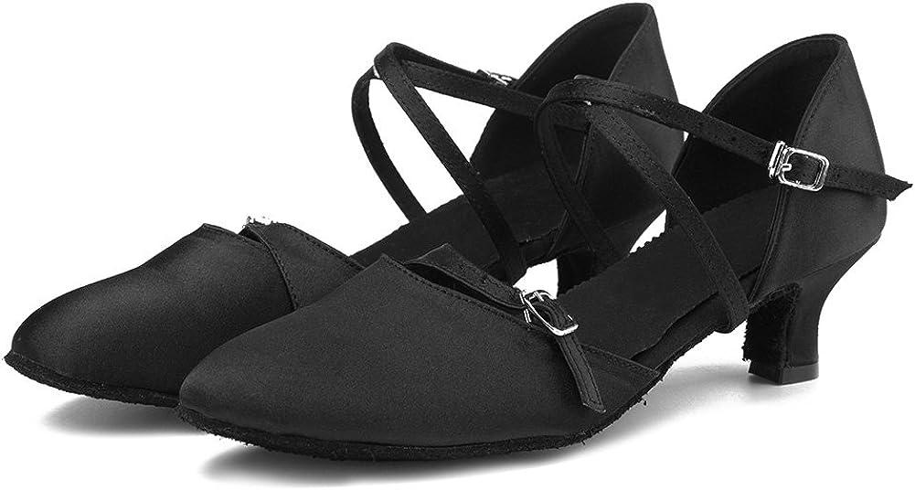 HIPPOSEUS Womens Satin Latin Dance Shoes Ballroom Dancing Shoes,Model TY-C10