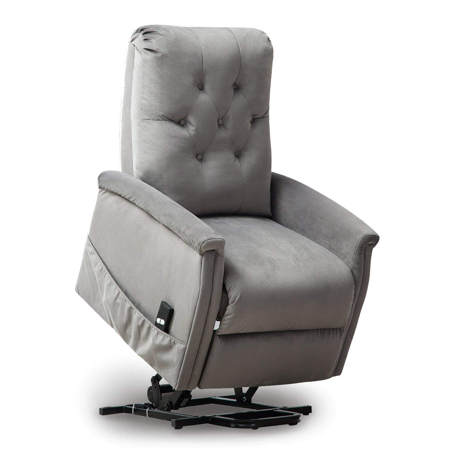 Amazon com bonzy power lift recliner chair for elderly living room chair sofa seat with remote control pocket light gray kitchen dining