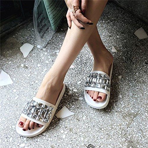 Verano Nuevas Gran Pantuflas Zapatillas Tamaño Zapatos Fondo Vacaciones Punta De Mujer Sandalias Strass Piedras Plano Del Abierta Blanco Blanco Playa xqUnEEgXYw