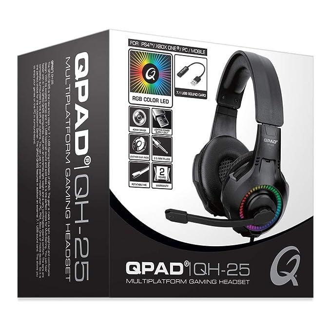 QPAD QH-25 RGB Stereo /& 7.1 USB Gaming Headset