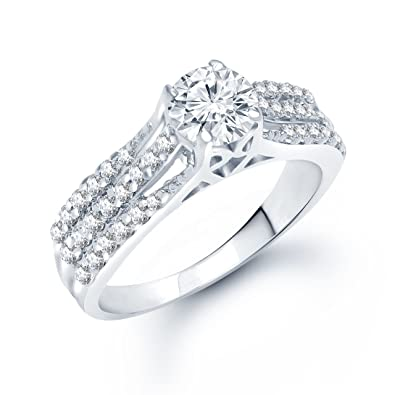 Meenaz Solitaire American Diamond Cz In Silver Single Stone Ring For Girls