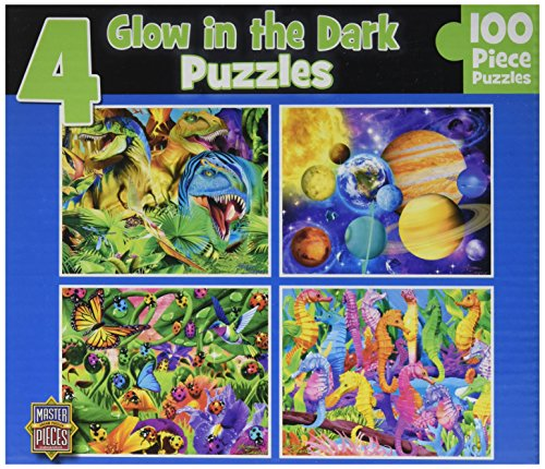 Masterpieces Glow in the Dark Puzzle (4-Pack) - Assorted Kids Floor Puzzles