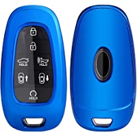 Horande TPU Key Fob Case Cover fit for 2020 2021 Hyundai Sonata Santa fe 2022 Tucson Keyless Entry Smart Key Fob (Blue)