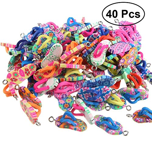 ULTNICE Clay Flip-Flop Ornament Soft Pendant DIY Bracelet Necklace Accessories 40pcs