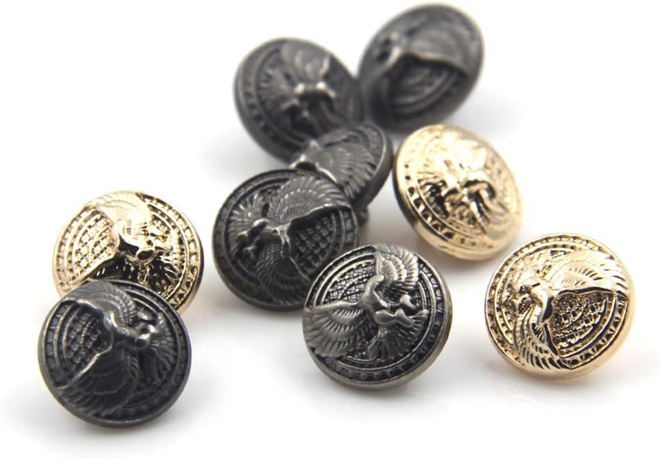 10 mm Mode Aigle en relief en métal Boutons décoratifs pour