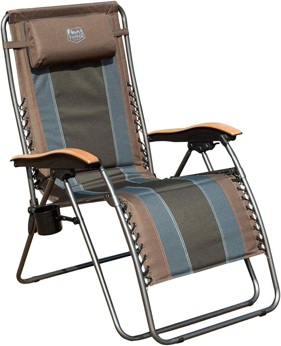 Timber Ridge Oversized XL Padded Zero Gravity Seat, Steel frame, Wooden armrests