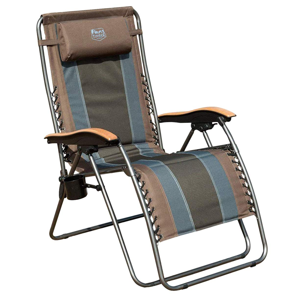 Timber Ridge Zero Gravity Locking Patio Outdoor Lounger Chair Oversize XL Padded Adjustable Recliner with Headrest Support 350lbs, Earth by Timber Ridge