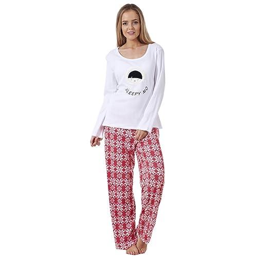 ladies pyjama set fleece winter warm long sleeve womens nightwear pjs