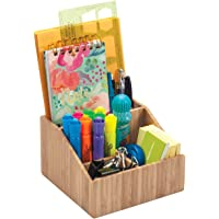 Multi-Use Bamboo Office Product Organizer Compact for Desktop, Holds Notepads, Pens, Pencils, Business Cards, Paper…
