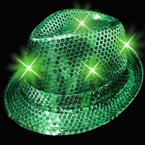 Sequins LED Light up Fedora Hat - Kelly Green