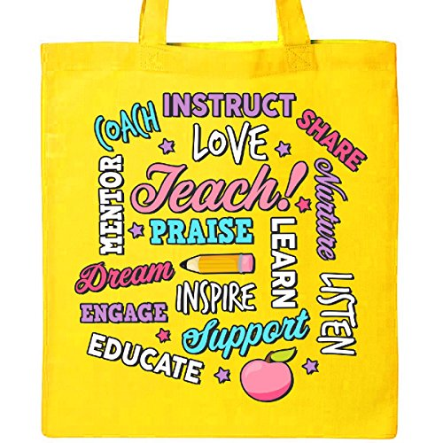 Inktastic - Teacher Word Salad with Pencil and Apple with Black Outline Tote Bag