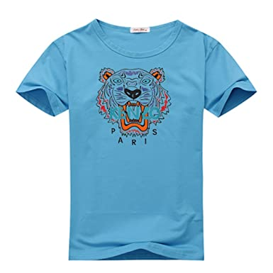 4d4b9414d Image Unavailable. Image not available for. Color: Kenzo Paris Logo For Mens  Printed Short Sleeve T-Shirt Small Sky Blue