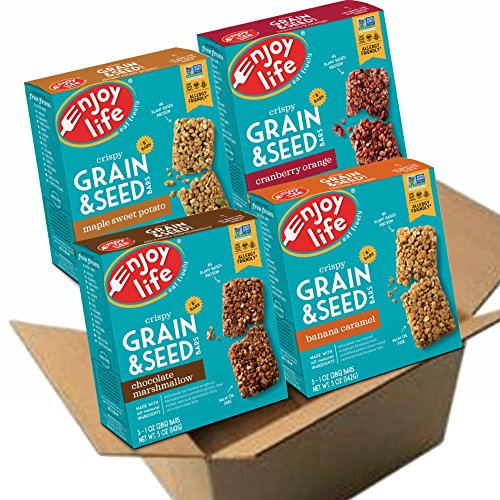 Enjoy Life Grain & Seed Bars, Soy free, Nut free, Gluten free, Dairy free, Non GMO, Vegan, 4 Boxes of 5, 1 Ounce Bars (20 ()
