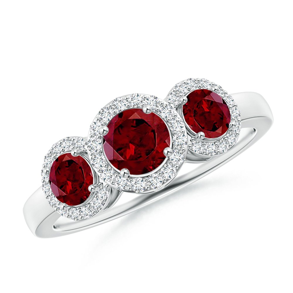 5ab0a7a2409b7 Amazon.com: Silvergemking Round Shape Garnet & Sim Diamond 14K White ...
