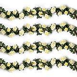 YILIYAJIA 4PCS(28.8 FT) Artificial Rose Vines Fake Silk Flowers Rose Garlands Hanging Rose Ivy Plants for Wedding Home Office Arch Arrangement Decoration (Beige)