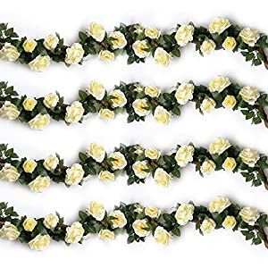 YILIYAJIA 4PCS(28.8 FT) Artificial Rose Vines Fake Silk Flowers Rose Garlands Hanging Rose Ivy Plants for Wedding Home Office Arch Arrangement Decoration 72