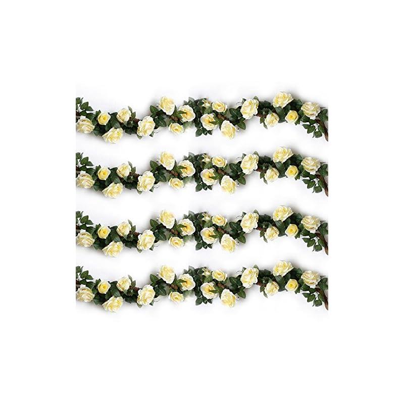 silk flower arrangements yiliyajia artificial rose fake vines silk spring flowers rose garlands hanging rose ivy plants for wedding home office arch arrangement decoration 4pcs(28.16 ft)(beige)