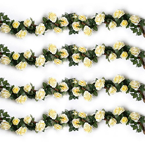 YILIYAJIA 4PCS(28.8 FT) Artificial Rose Vines Fake Silk Flowers Rose Garlands Hanging Rose Ivy Plants for Wedding Home Office Arch Arrangement Decoration (Beige)