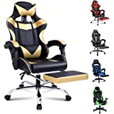 Alfordson Gaming Chair Racing Office Chair Computer Desk Chair PU Leather High Back Chair with Footrest Gold Colour