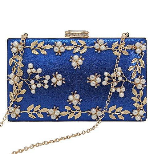 Hombro Azul Bolso Monedero De De Raso Del Señoras Del Diseño Real Wocharm Material Del Mujer Flores Embrague De Del 4qgxHcC