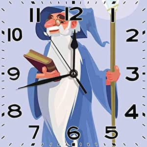 SanJIUCOM Reloj de Pared Feliz Sonriente Viejo Mago Mago
