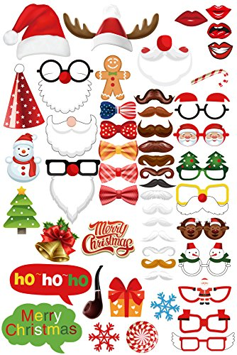 Ohlily Christmas Photo Booth Props 52 Pieces DIY Kit New Year Xmas Party Supplies ()