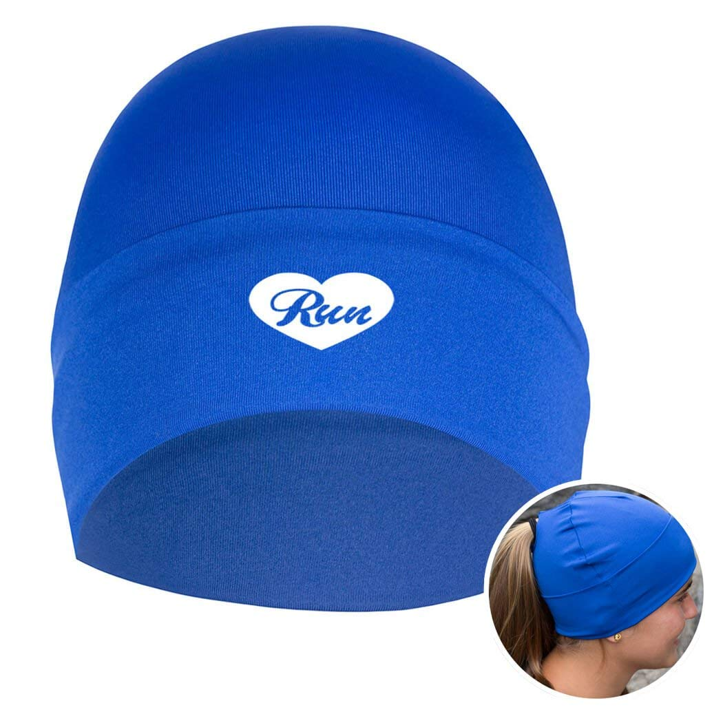 Gone For a Run Performance Ponytail Cuff Hat Heart to Run bluee