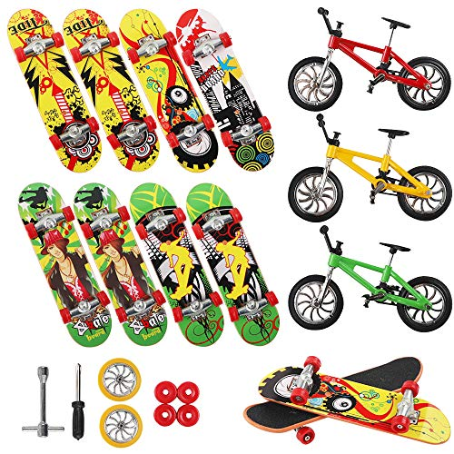 (Vankerter 11pcs Mini Finger Skateboards and Bikes Finger Toys Fingerboards with Replacement Wheels and Tools for Kids as Gifts)