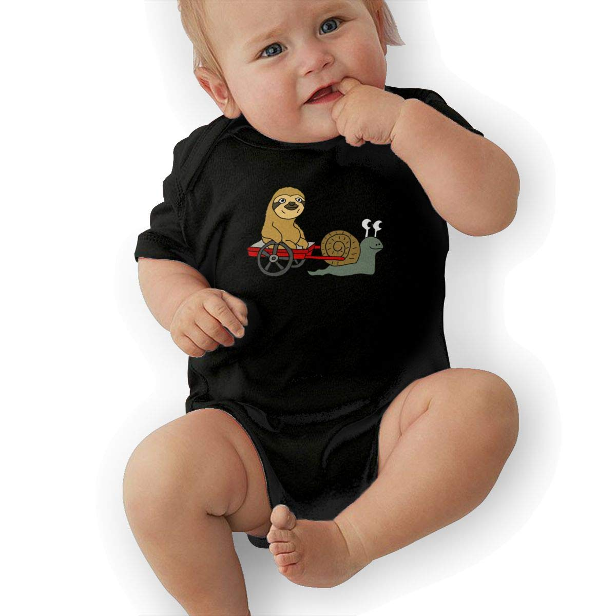 Funny Cool Sloth in Red Wagon Pulled Baby Pajamas Bodysuits Clothes Onesies Jumpsuits Outfits Black