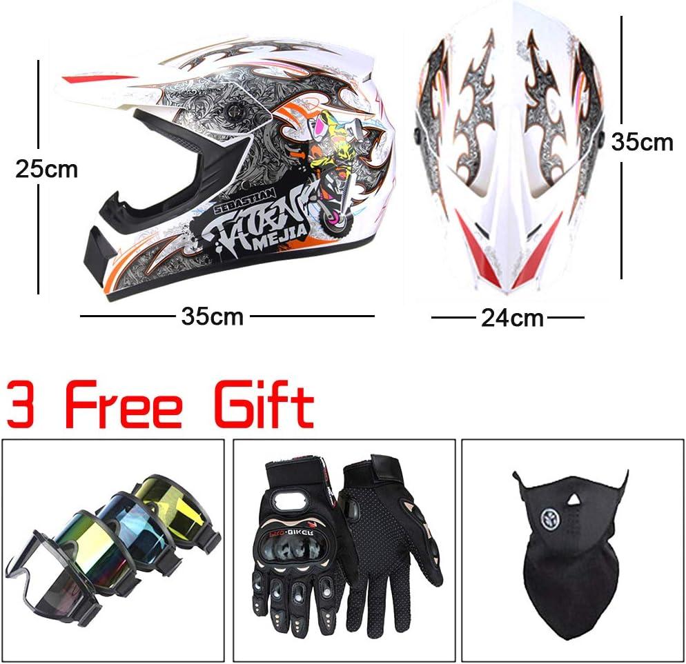 Motocross Helmet Adult MTB Helmet Motorcycle Helmet Mountain Bike Helmet Full Face Helmet Set Includes 1 X Helmet 1 X Goggle 1 X Glove 1 X Face Mask for Men /& Women Helmet,Yellow,S