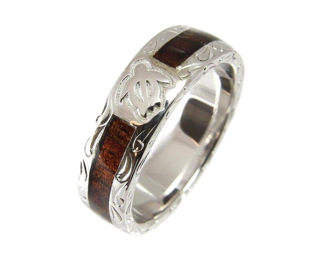 Genuine Hawaiian koa wood eternity wedding band ring honu turtle 925 silver 6mm size 7