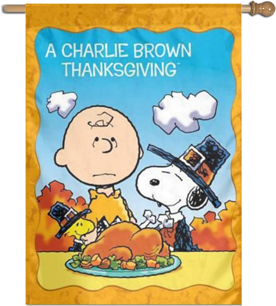 WOMFUI Snoopy and Charlie Brown Christmas Garden Flag Unique Decoration Outdoor Flag (12.5×18, Snoopy Charlie Brown Thanksgiving)