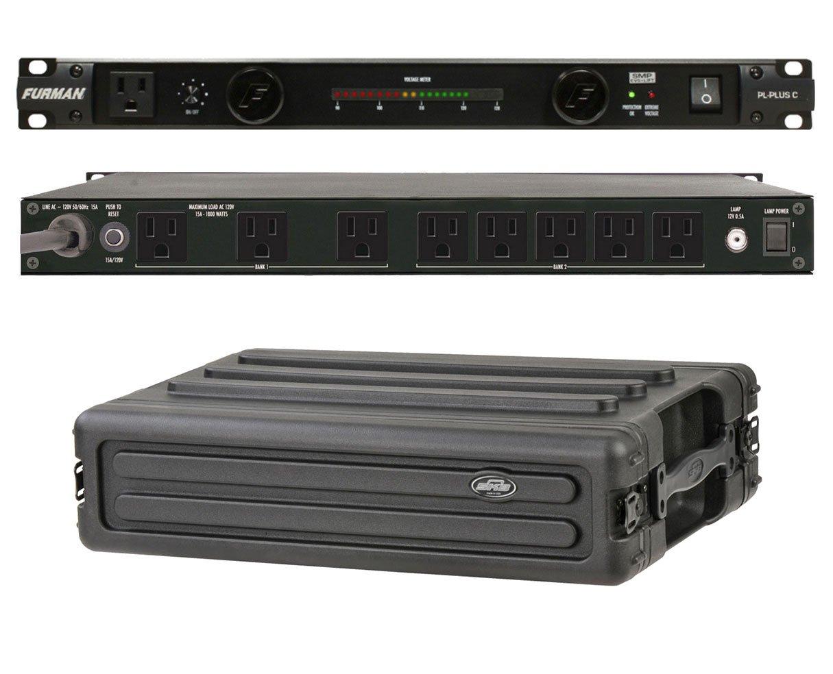 Furman PL-Plus C 15 Amp Power Conditioner + SKB 1SKB-R2S 2U Shallow Rack