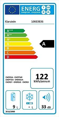 Klarstein Frosty Minibar mininevera - compacta, aislada, sistema de enfriamiento termoeléctrico, 10 litros de capacidad, enfría entre los 12 y los 18 °C, eficiencia energética de clase A, 33 dB, negro