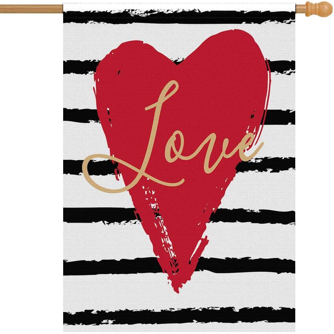 """INTERESTPRINT Valentine's Day with Red Love Heart on Striped Background Decorative Flag House Flag House Banner for Wishing Party Wedding Yard Home Decor 28"""" x 40"""" (Without Flagpole)"""