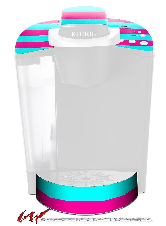 Psychoストライプネオンティールとホットピンク – デカールスタイルビニールスキンFits Keurig k40 Eliteコーヒーメーカー( Keurig Not Included )   B017AK548A
