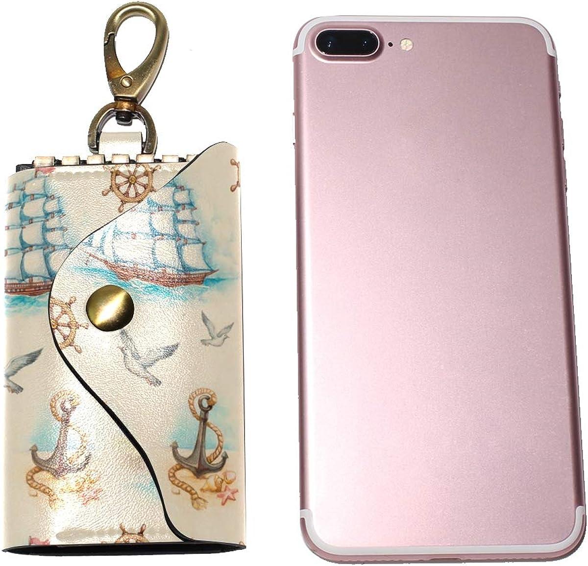 KEAKIA Nautical Pattern Leather Key Case Wallets Tri-fold Key Holder Keychains with 6 Hooks 2 Slot Snap Closure for Men Women