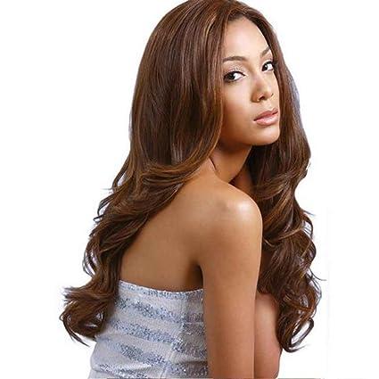 Babysbreath Oscuro marrón resistente al calor peluca larga pelo rizado pelucas naturales cosplay pelucas de pelo