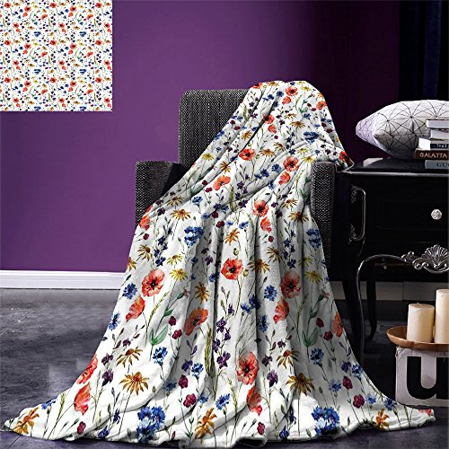smallbeefly House Decor Digital Printing Blanket Wildflowers Poppy Chamomile Cornflowers Daisies Countryside Fun Illustration Summer Quilt Comforter (Quilts Countryside)