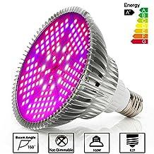 Derlights 100W Full Spectrum LED Grow Light Bulb, High Efficient Plant Light Bulb for Indoor Garden Hydroponics Greenhouse Organic, E27 Socket (100W)