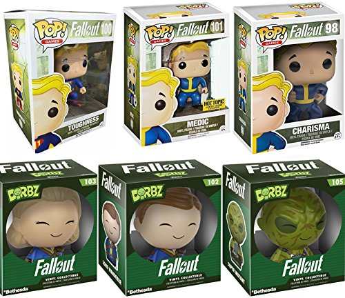 Funko Pop Fallout Vault Boy Mystery Figure #98 / 100 / 101 Set Games Toughness Medic Charisma + Dorbz Lone Wanderer & Super Mutant 6-Pack