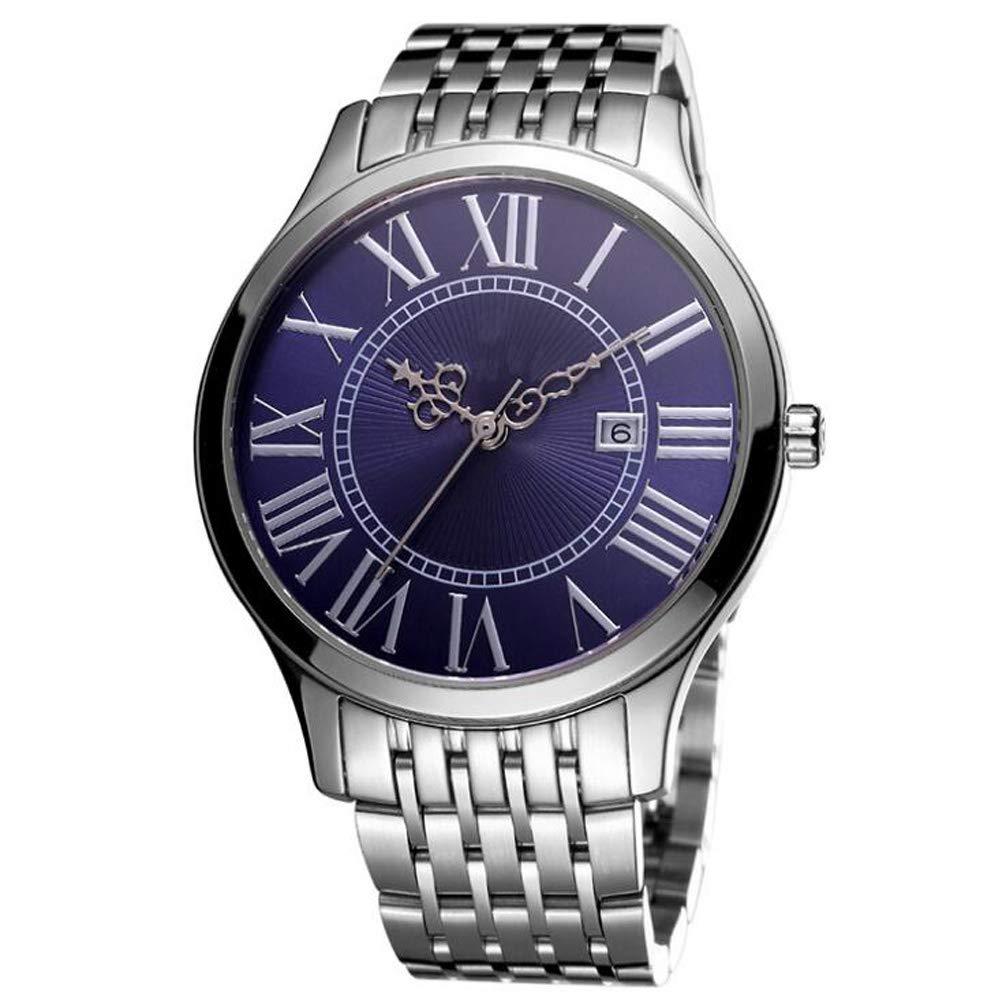クォーツ時計メンズ腕時計ステンレススチールブレスレットガラスミラー時間表示正確なブティック包装に適したホリデーギフト, Silver B07S1SLSVW