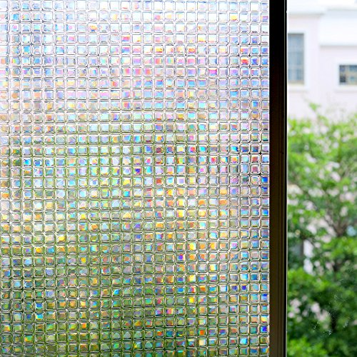 Bloss 3D Window Film Privacy Film Mosaic Window Films Premium Window Film Decorative Glass Film Static Cling No Glue Anti UV 17.7-by-78.7 Inch