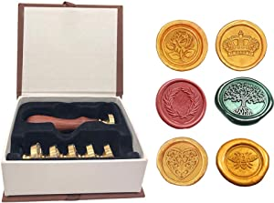 6pcs Vintage Retro Wax Seal Stamp Kit with Gift Box,1 Wooden Hilt + 6 Interchangeable Removable Brass Head Sealing Stamp (Bee+Rose+Crown+Olive Wreath+Life Tree+Heart)