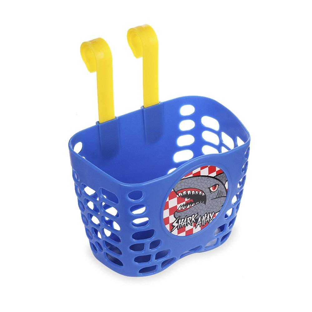 Kid's Bike Basket, Mini-Factory Cute Cartoon Shark Attax Pattern Bicycle Handlebar Basket for Boy  (Blue) by Mini-Factory (Image #4)
