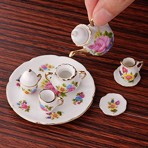 1:12 New Mini Porcelain Tea Set For Miniature Dollhouse Accessory Decor - Pepper White Dresser