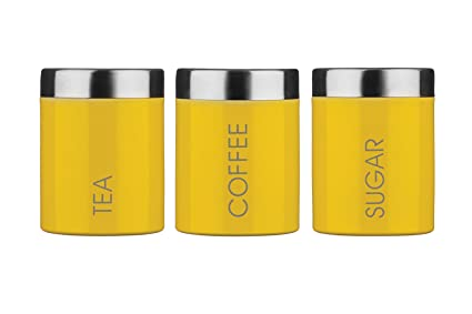 Premier Housewares Tea Coffee Sugar Canisters Yellow Amazonco