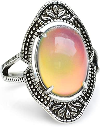 Women Ring Band Oval Stone Rings Vintage Look Antique Silver Color  ONE